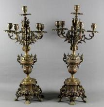 PAIR OF 19TH C. BRONZE CANDELABRAS