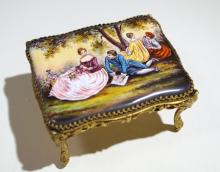 VIENNESE ENAMEL MINIATURE TABLE MUSIC BOX