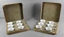 SET OF 12 STERLING AND PORCELAIN  RAMIKINS IN FITTED