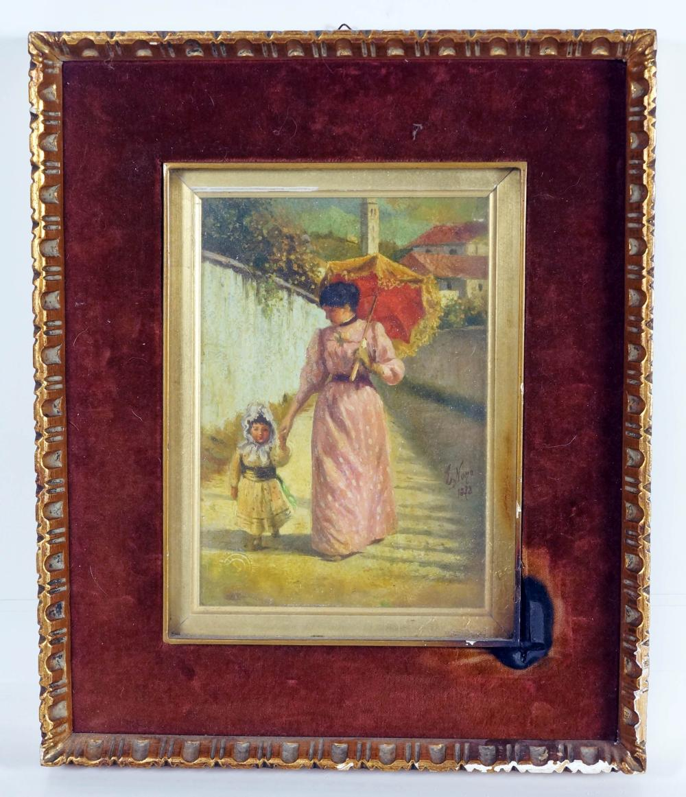 Small Painting Of Woman With Umbrella