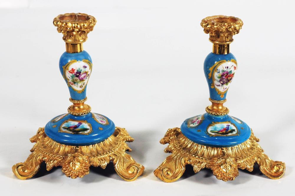 A46) Pair Of French Bronze And Sevres Style Porcelain