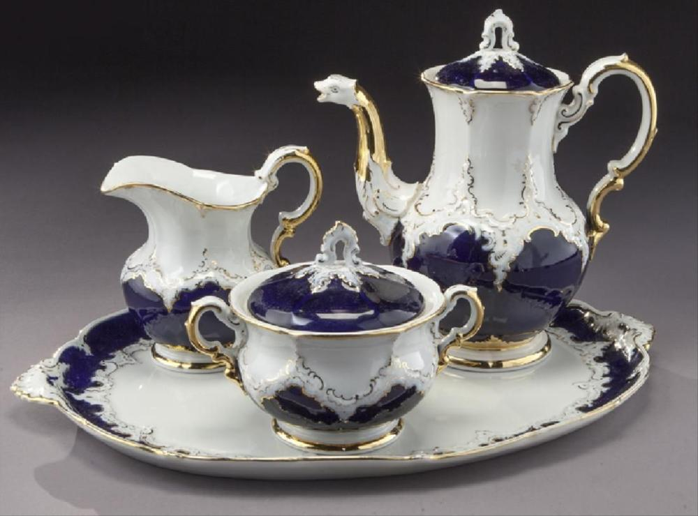 (4) Pc. Meissen Coffee Service With Cobalt Blue