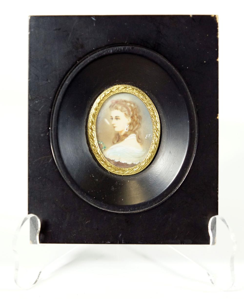 Signed Miniature Portrait Of A Nobel Women