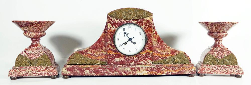 Rouge Marble Three Piece Clock Set