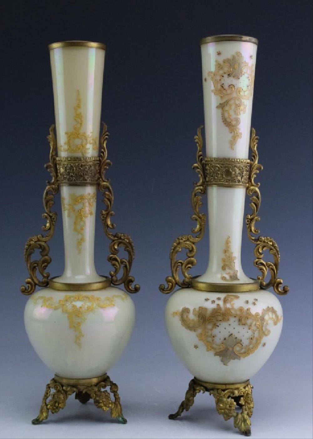 Mounted Pair Antique Egg Shell Bristol Glass Vases
