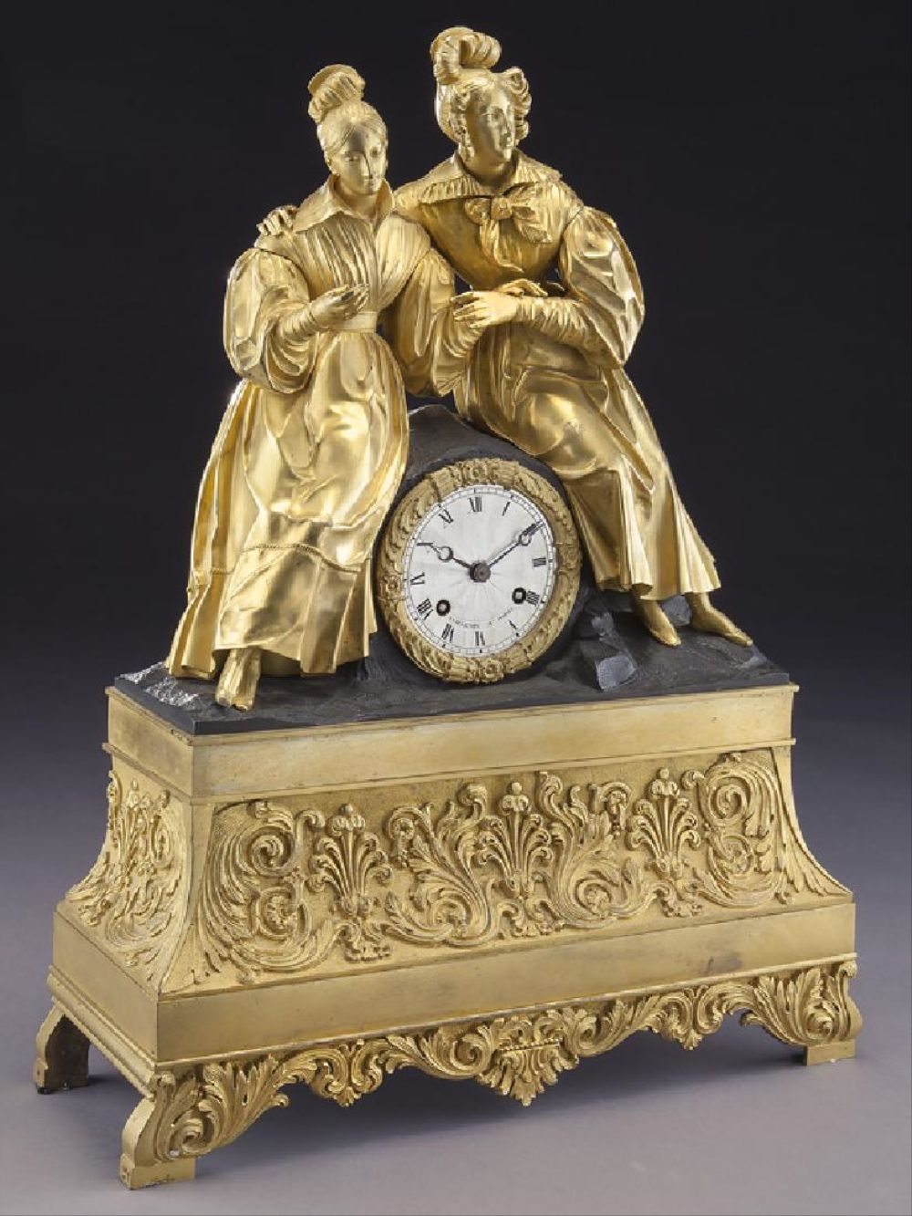 French Dore And Patinated Bronze Clock