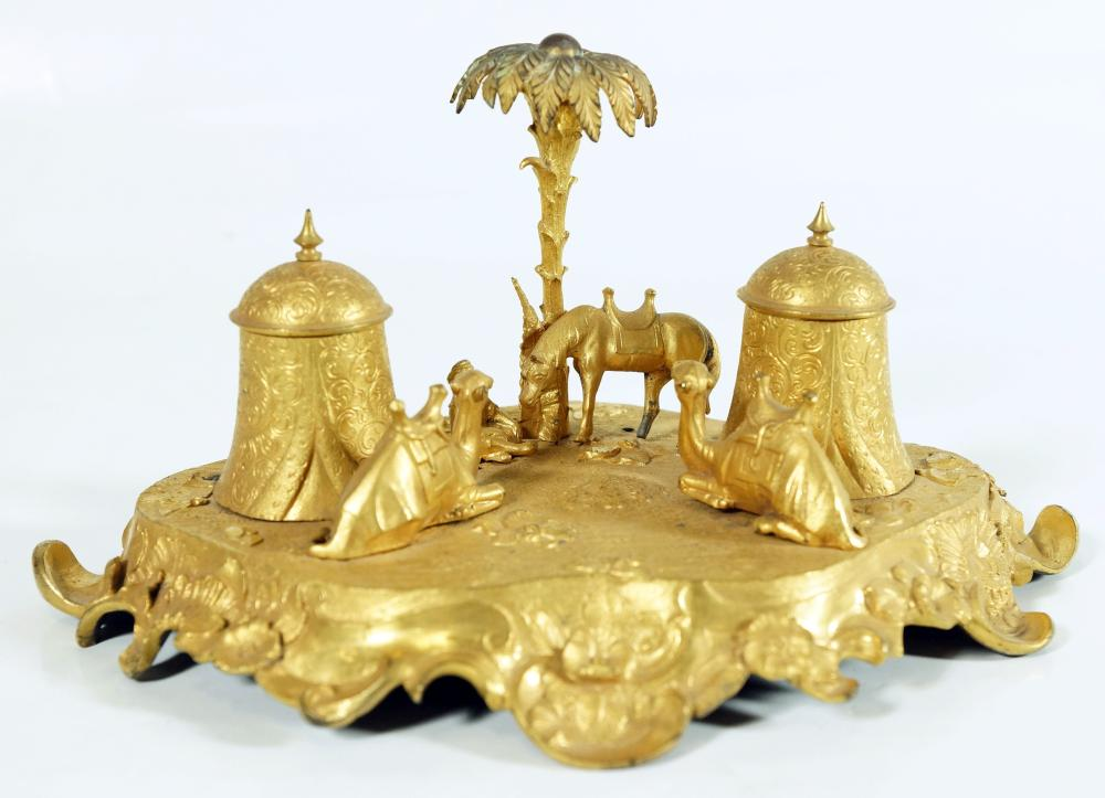 Museum Quality French Gilt Bronze Oasis Ink Stand