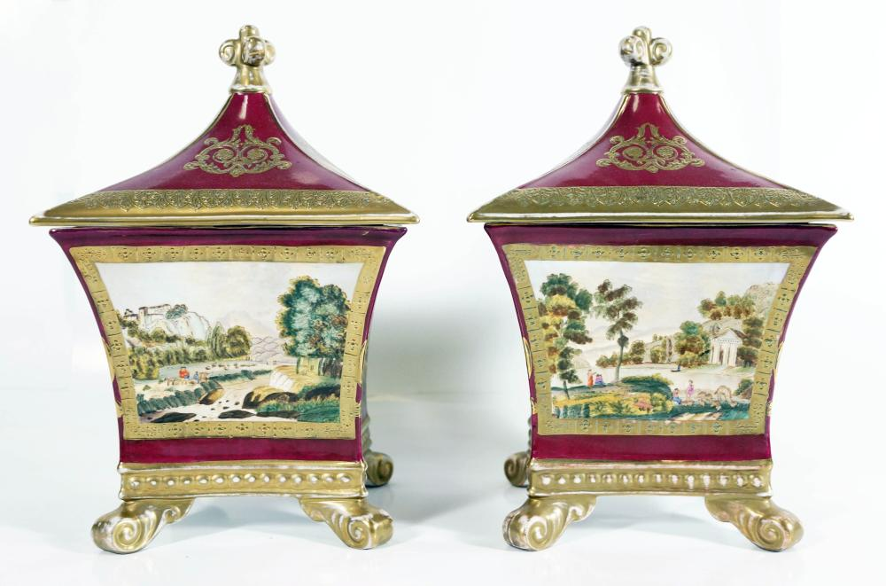 Pair Of Sevres Square Covered Jars