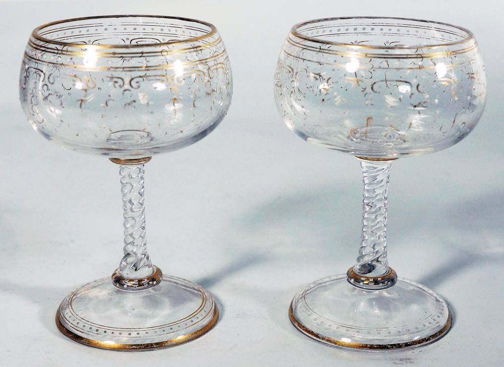 Pair Of Enamel Gilt Glasses