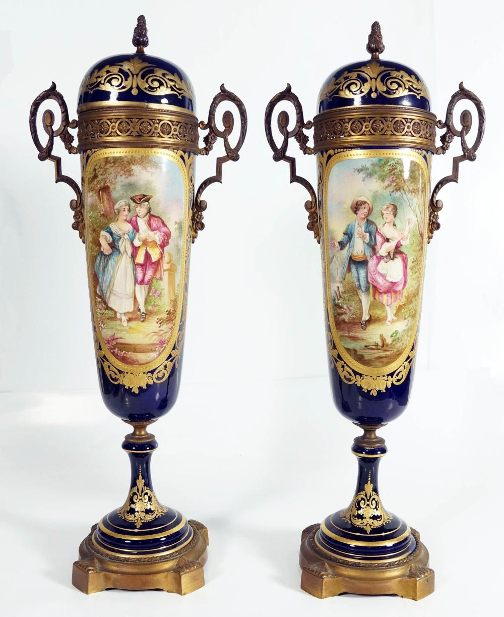 Pair Of Blue And Gold Porcelain Overlay Covered Vases