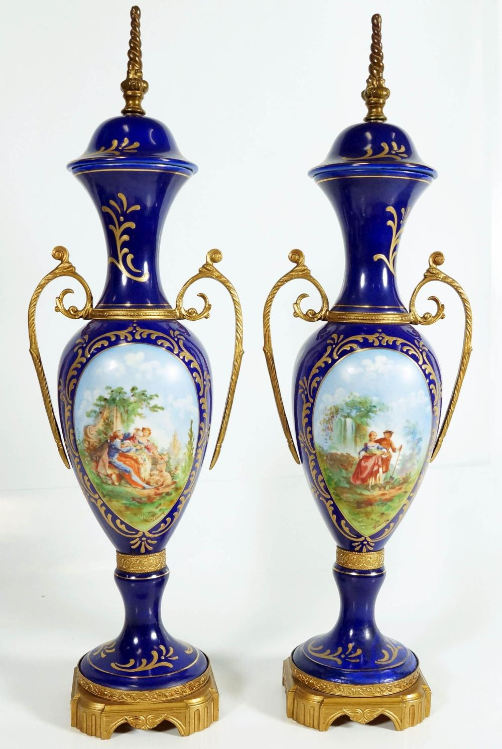 Pair Of Continental Two Handle Picture Vases