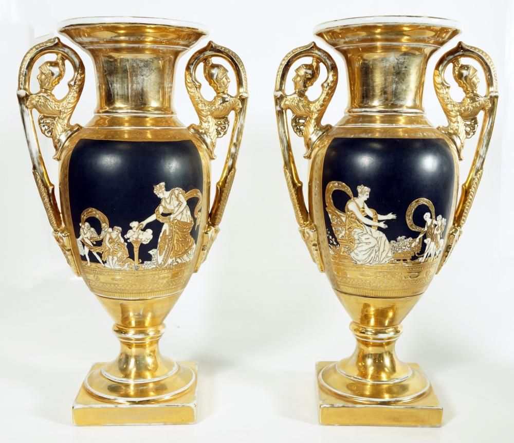 Pair Of Kpm Style Porcelain Vases