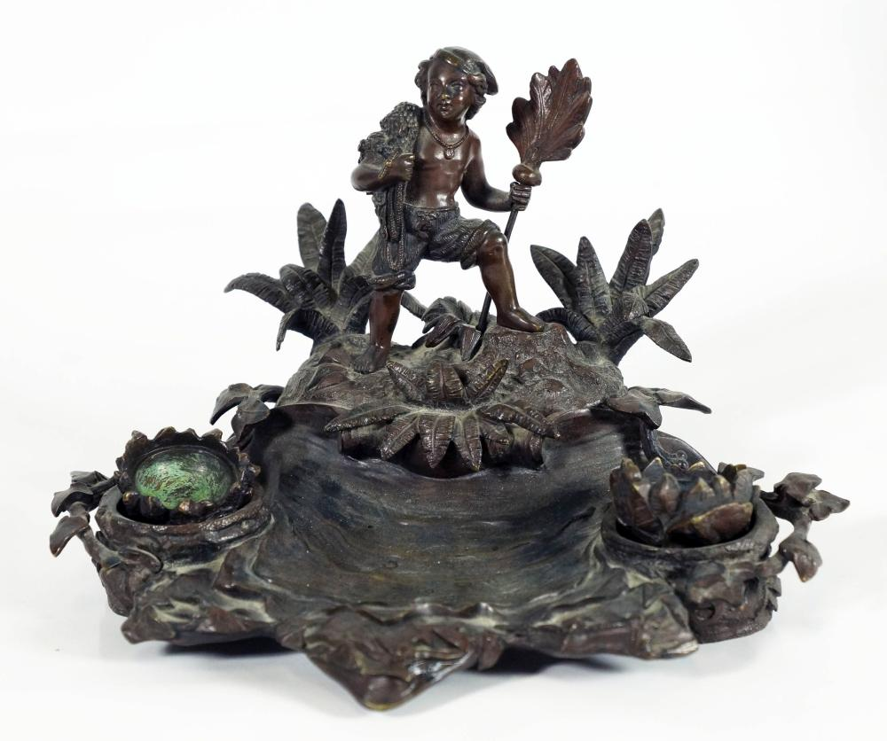 1589) English Bronze Ink Stand Of A South Seas Sailor