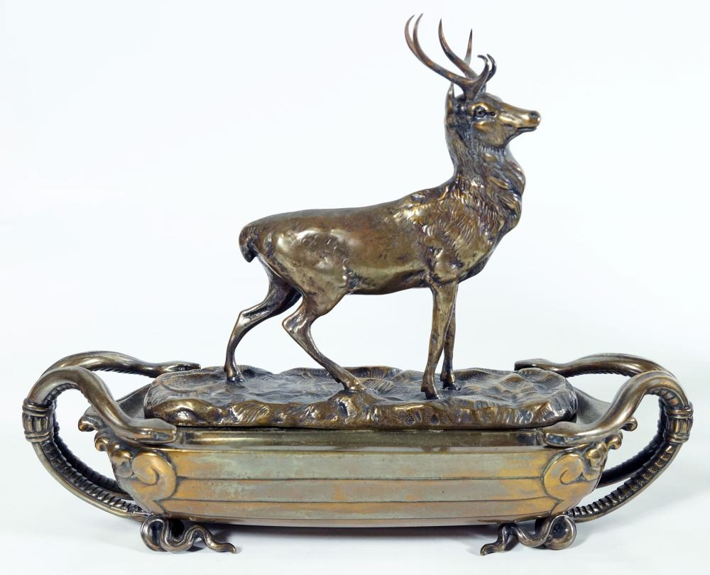 1817 English Bronze Ink Stand With Deer And Snakes