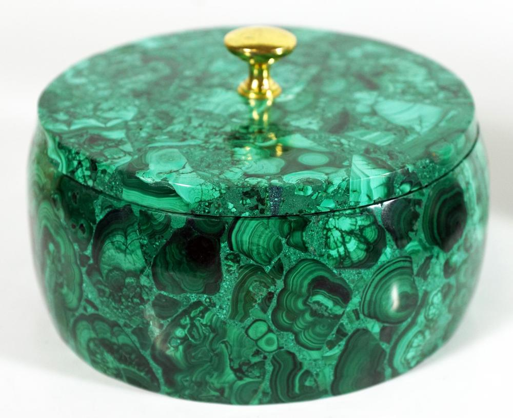 Russian Malachite Circular Box
