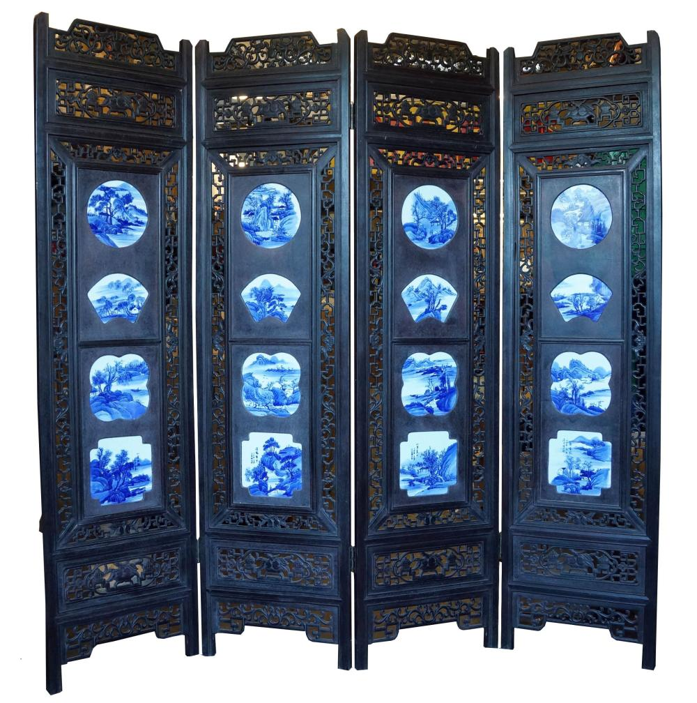 Chinese Four Panel Porcelain Screen