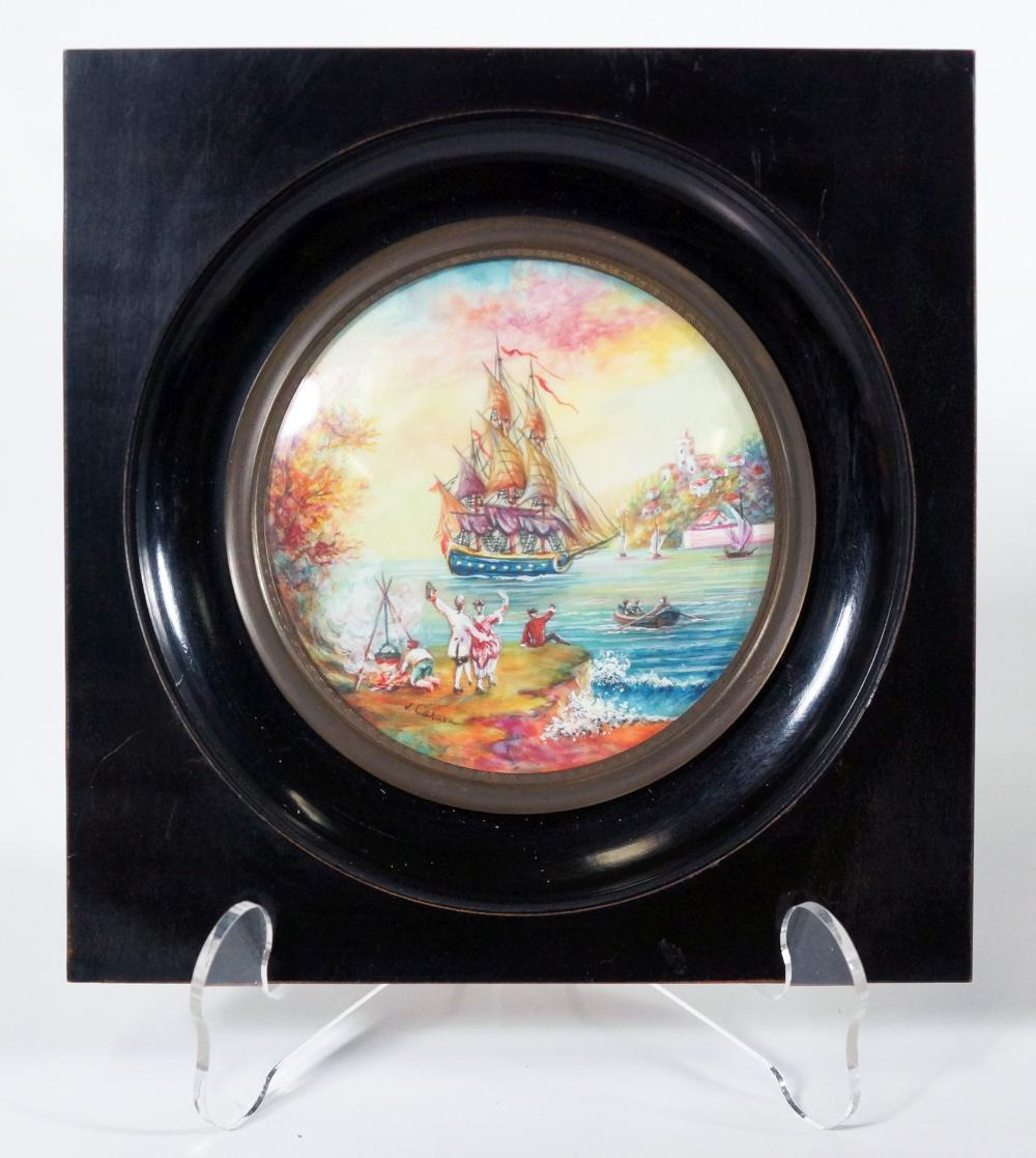 Signed Enamel Painting Of A Ship In The Harbor