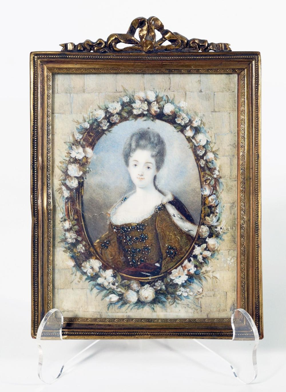 Louis Xv Style Portrait Of Maiden In Glt Bronze Frame