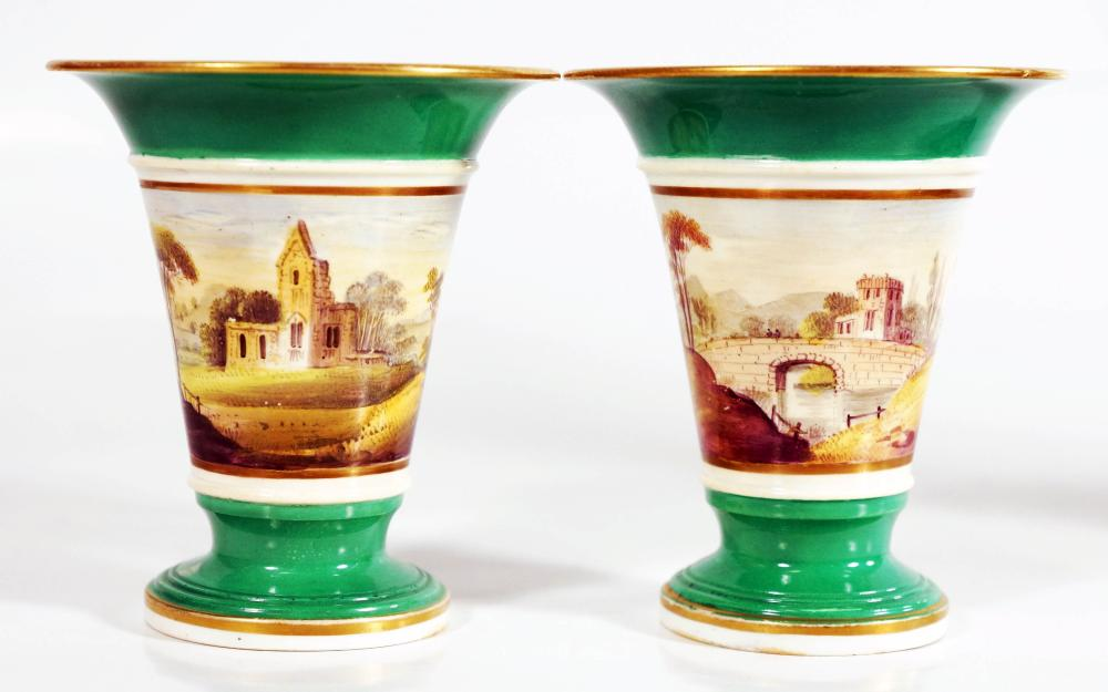 Pair Of Small English Porcelain Landscape Vases