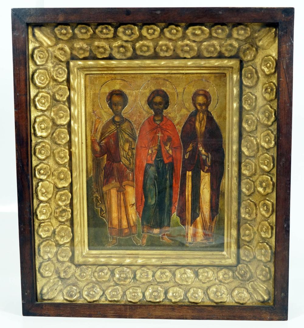 Gilt Framed Icon With Three Figures