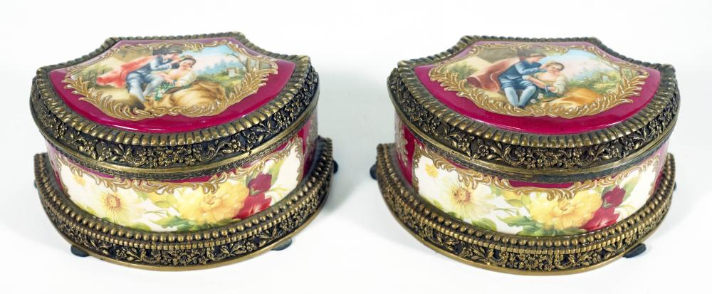 Pair Of Small Bronze Mounted Red Porcelain Boxes