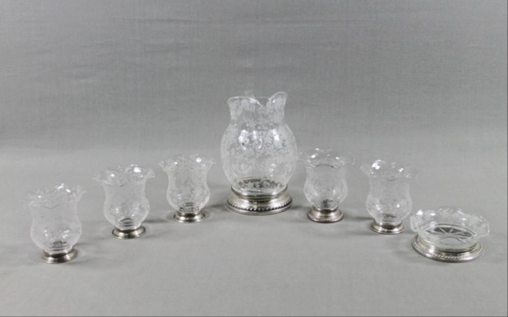 Seven Piece Sterling And Etched Glass Drink Set