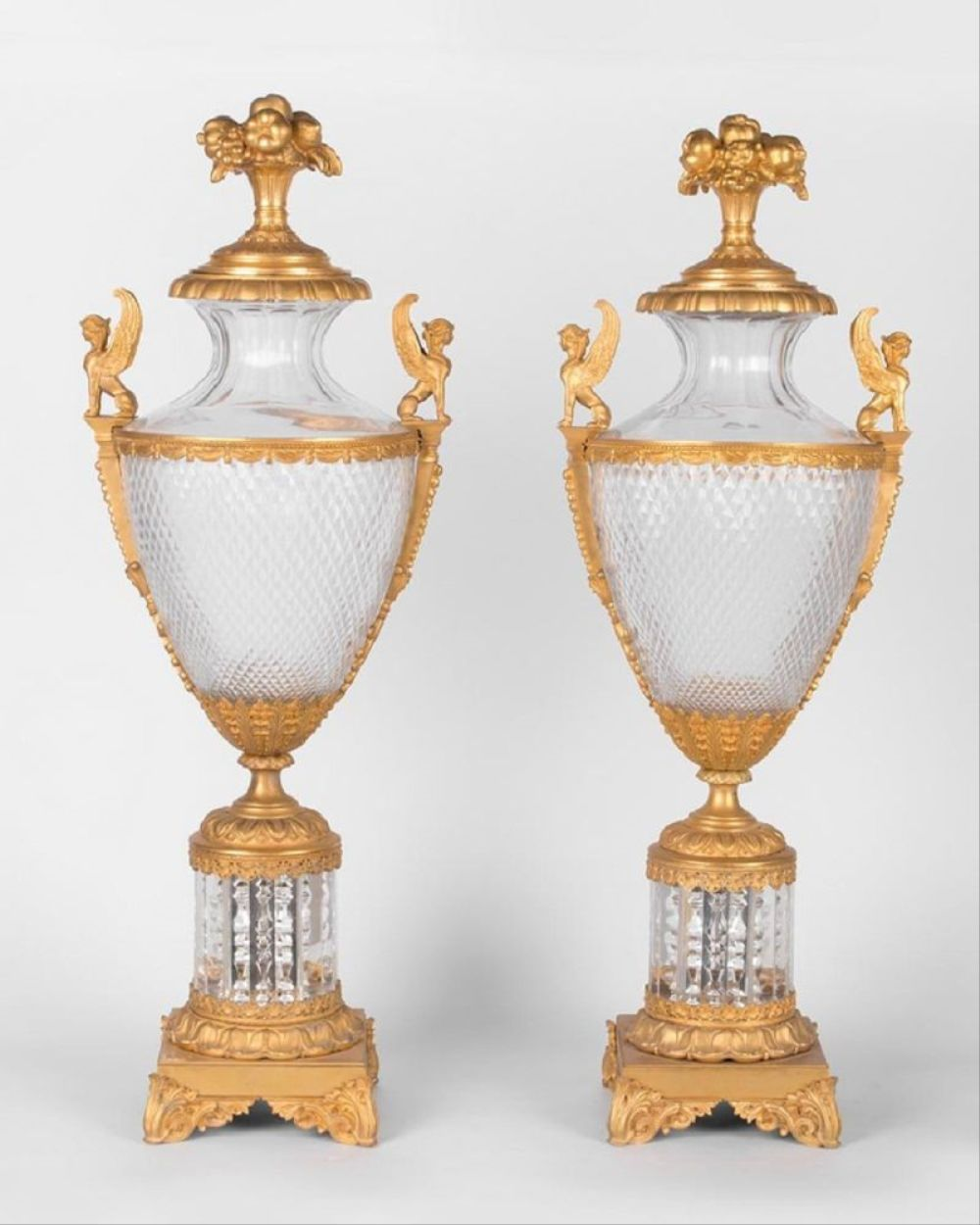Pair Of 19Th C. Louis Xvi Style Gilt Bronze & Cut Glass