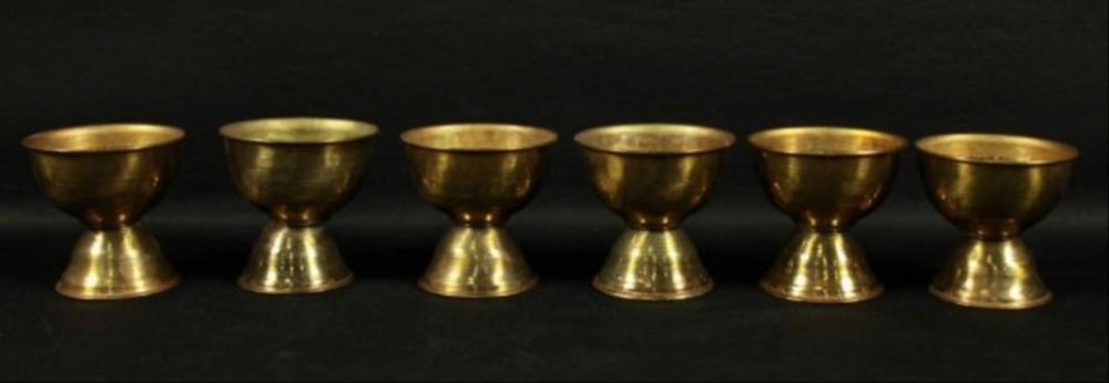 Set Of 6 Bronze Chalices