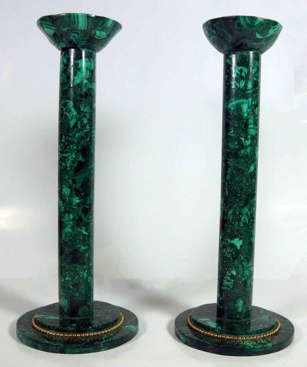 Pair Of Malachite Candlesticks