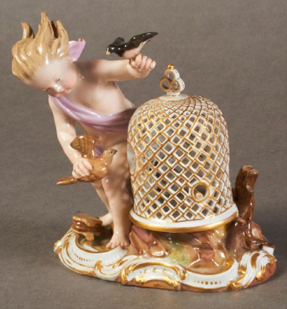 19Th C. Meissen Figure Of Bird Cage