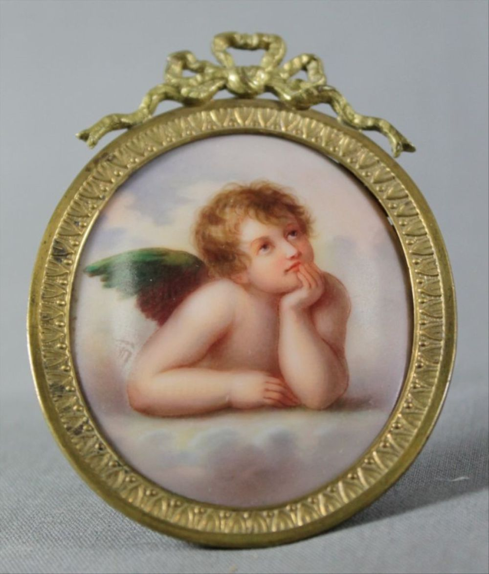 Enamel Plaque In Frame