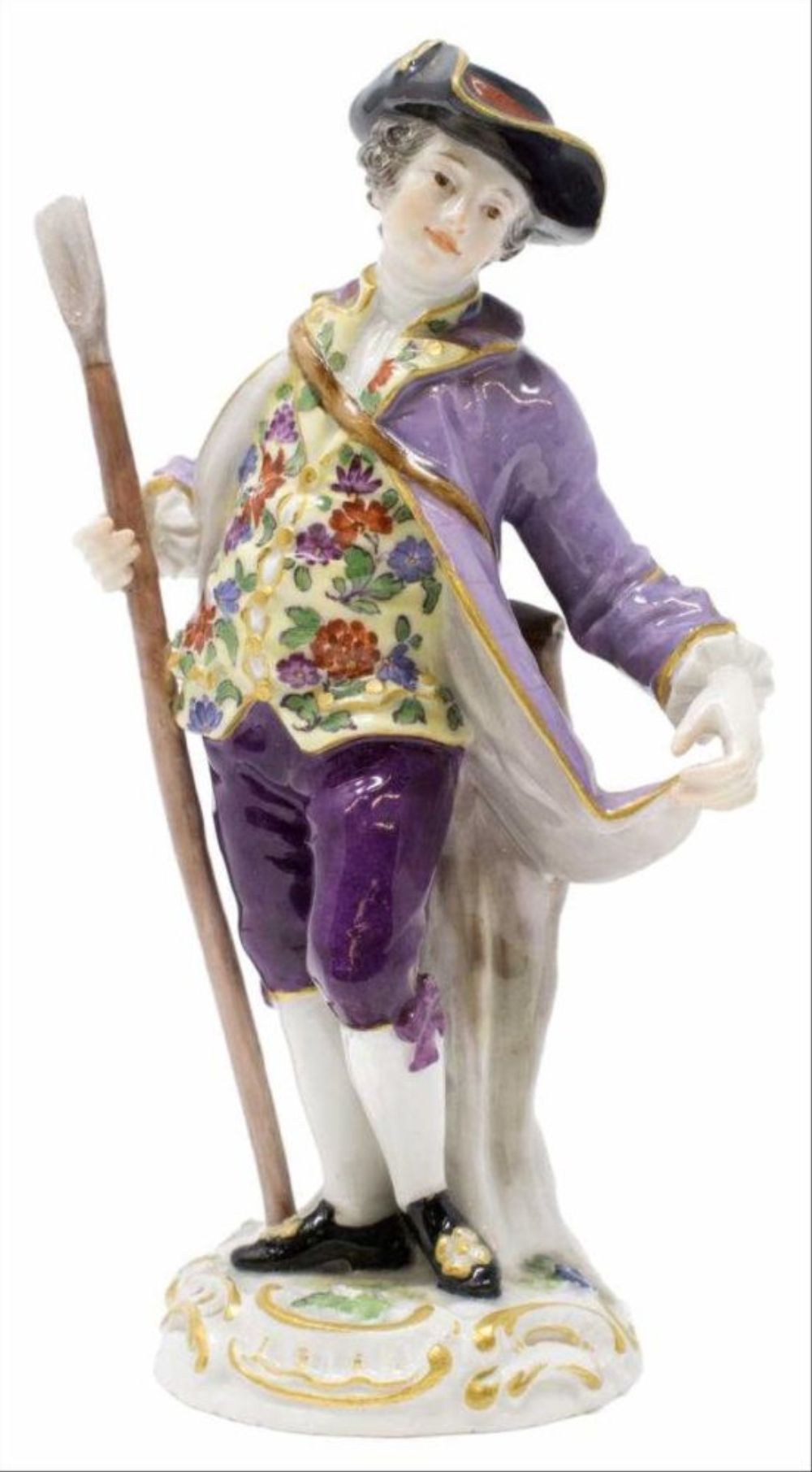 19Th C. Meissen Porcelain Figure Boy With Walking Stick