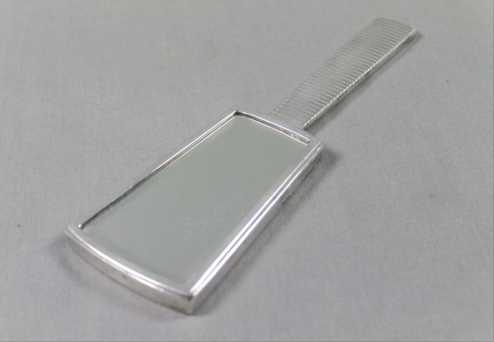 Modern Silver Brush And Mirror