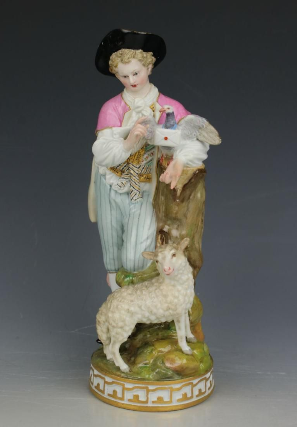 "Large 8"" Meissen Acier Figurine F73 ""Man With Sheep And"