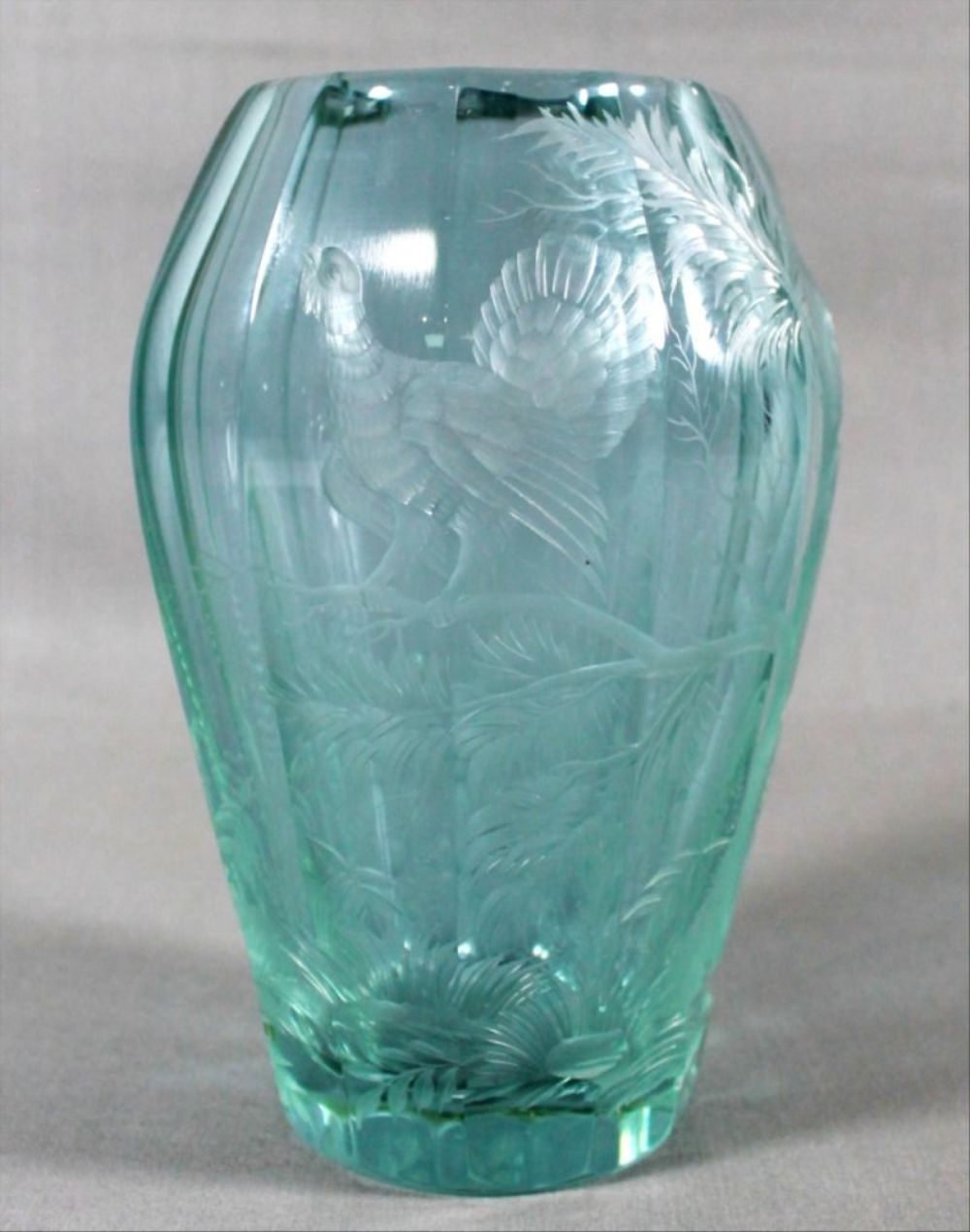 Moser Faceted And Engraved Glass Dichroic Vase