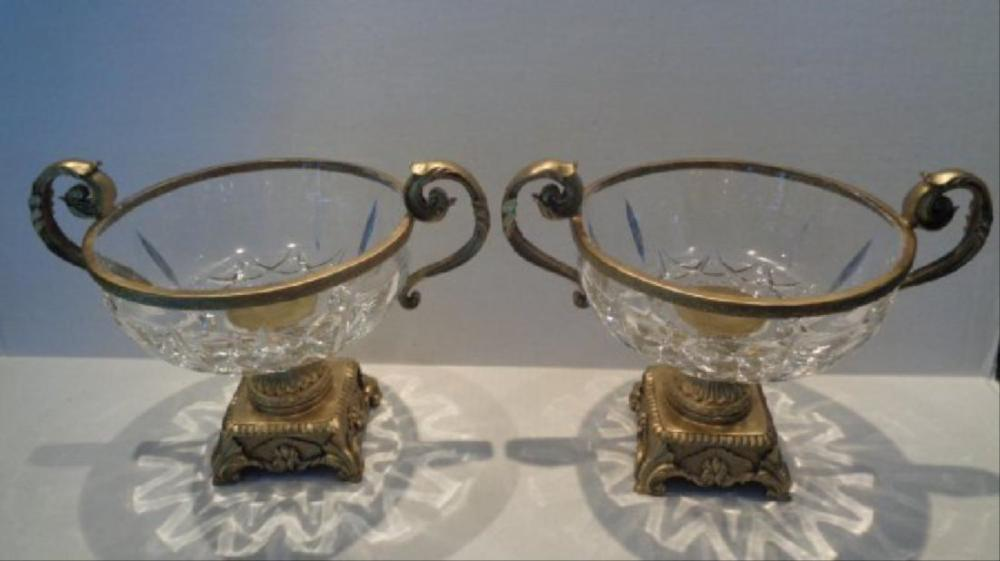 Pair Crystal Faceted Bronze Scroll-Leaf Handle Bowl
