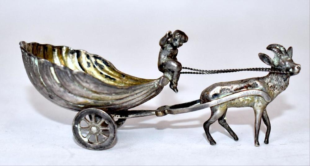 800 Silver Figural Master Salt On Wheels