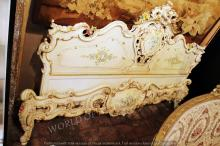 SET OF ANTIQUE HAND PAINTED HEADBOARD AND BASEBOARD BED