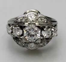 PLATINUM BAND AND FAUX DIAMOND RING