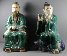 PAIR OF LARGE ANTIQUE CHINESE FIGURES OF QUAN YEN