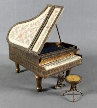 BRASS PIANO FORM MUSIC BOX