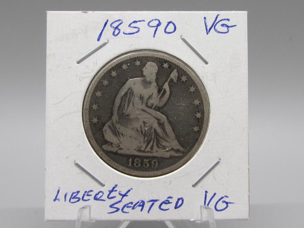 1859 O Silver Liberty Seated half Dollar RARE