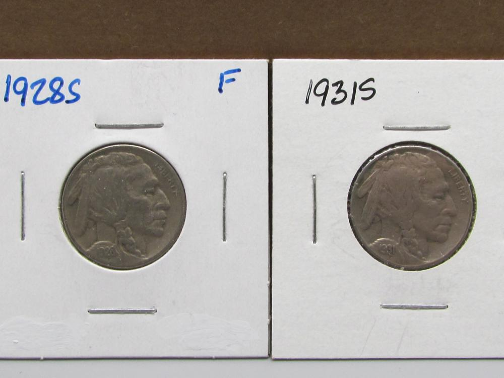 Buffalo Nickels 1928S and 1931S