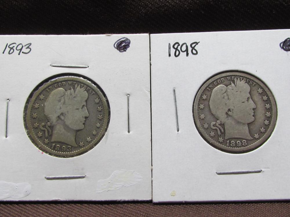 2 Silver Barber Quarters