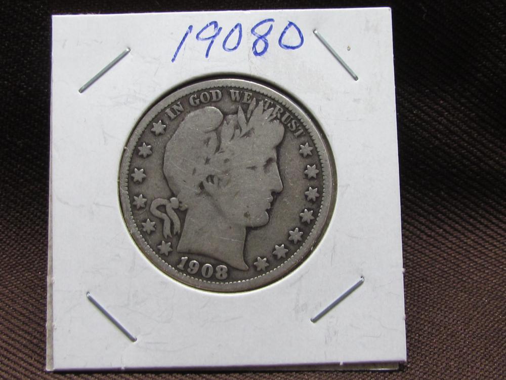 Silver Barber Half Dollar 1908O
