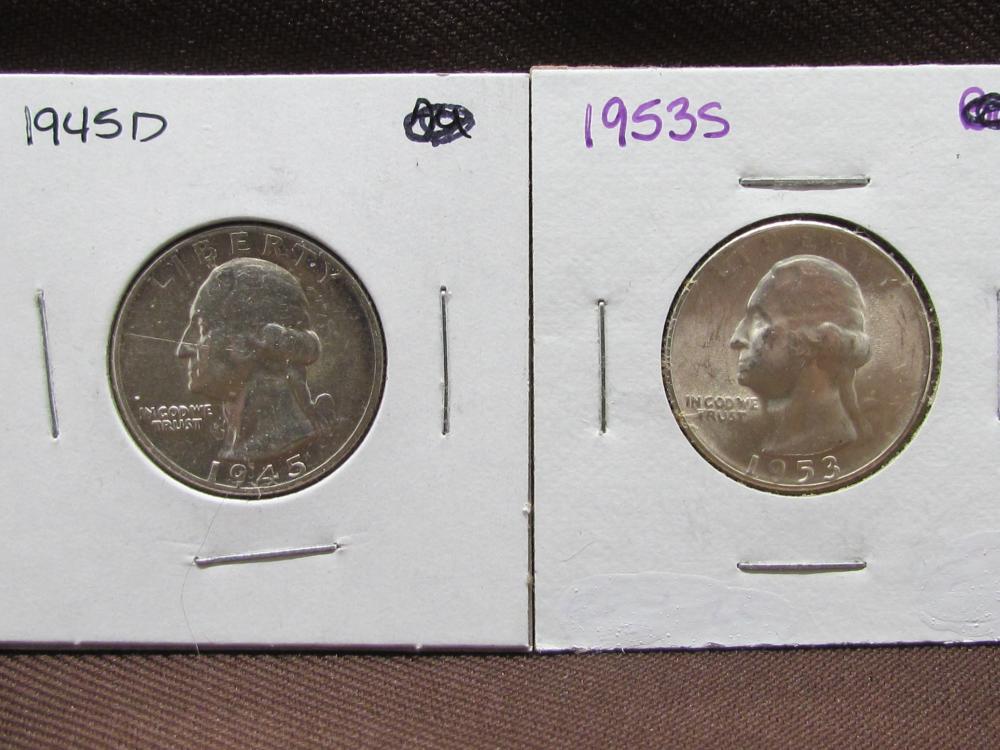 2 Silver Washington Quarters