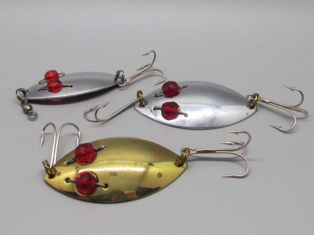 3 Vintage Red Eye Fishing Lures