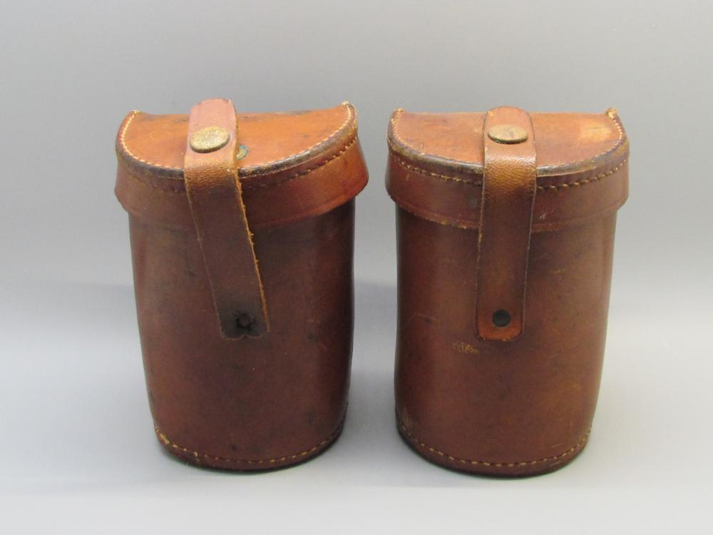 Two Vintage Leather Reel Cases