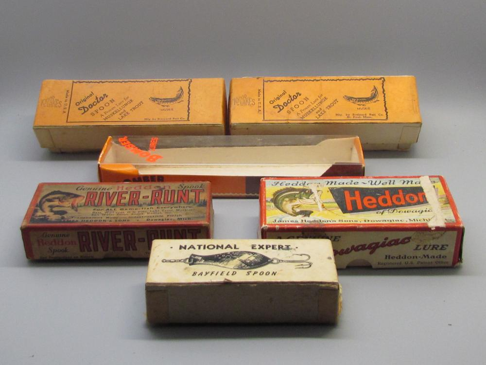Six Vintage Fishing Lure boxes EMPTY