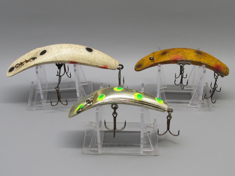 Three Vintage FlatFish Lures